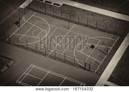 basketball court top view, retro toning. Empty Playground