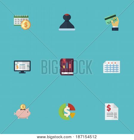 Flat Book, Stock, Deadline And Other Vector Elements. Set Of Registration Flat Symbols Also Includes Credit, Accumulation, Accounting Objects.