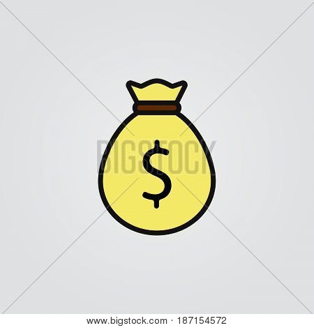 money bag icon, outline vector logo illustration, filled color linear pictogram isolated on white