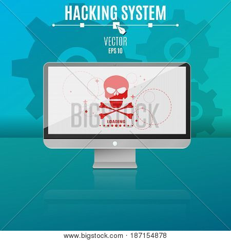 Modern computer on a blue background. Hacking system. Red skull on the monitor screen. Hi-tech and programming. Vector illustration. ESP 10