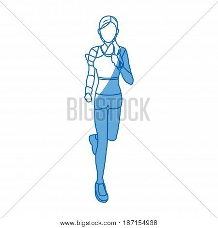 woman training run with wearable technology headphones vector illustration