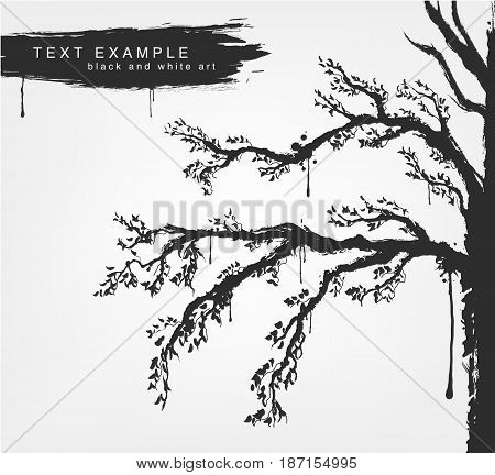 figures of trees in grunge style colors