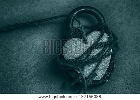 Conceptual photo of a heart on the lock. Symbols of love, romance and devotion