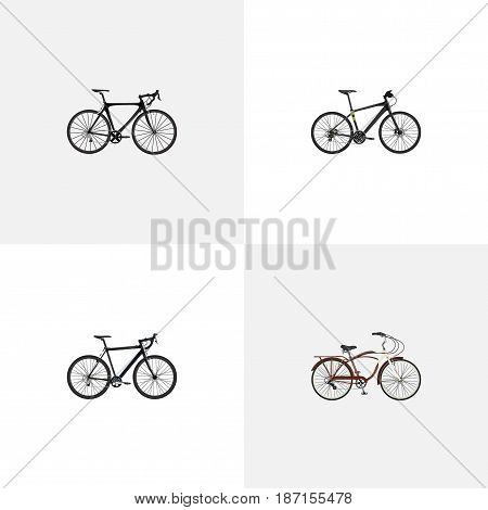 Realistic Journey Bike, Hybrid Velocipede, Cyclocross Drive And Other Vector Elements. Set Of Sport Realistic Symbols Also Includes Bicycle, Road, Training Objects.