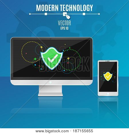 Modern computer and phone on a blue background. System security. Shield with multi-colored symbols on a light screen in a flat style. Hi-tech. Vector illustration. ESP 10