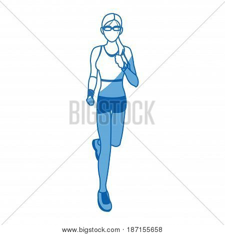 woman run with wearable technology headphones vector illustration