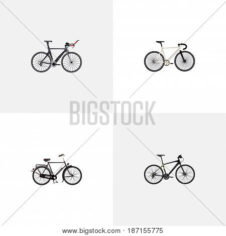 Realistic Hybrid Velocipede, Competition Bicycle, Road Velocity And Other Vector Elements. Set Of Sport Realistic Symbols Also Includes Training, Dutch, Bicycle Objects.