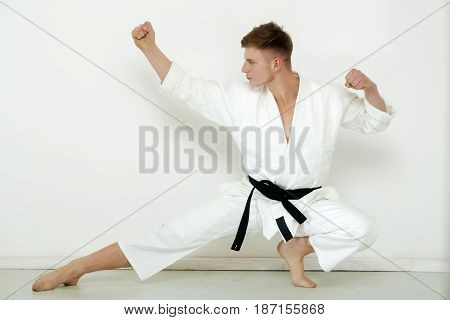 Fighter, Strong Karate Posing In Low Fighting Stance