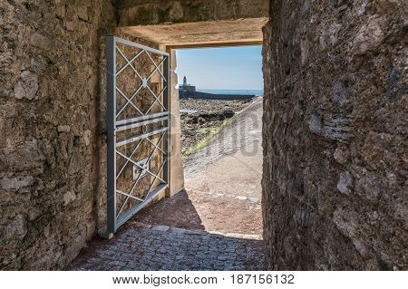 Access to the breakwater by the Saint-Nicolas priory in Les Sables d'Olonne, France