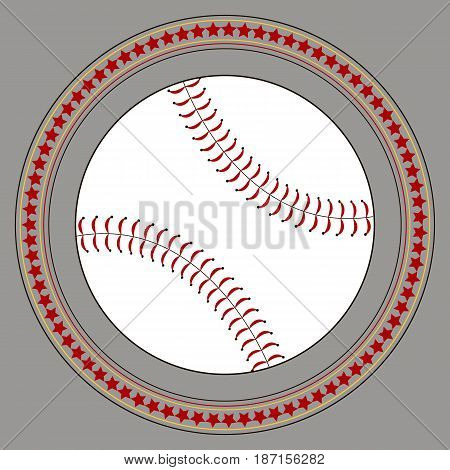 Vector flat illustration. Baseball logo design. Baseball icon vector flat illustration. Baseball club logo. Baseball emblem. The symbol of a baseball on a dark background Stitch and stars