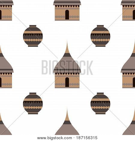 Huts in Africa. Vector flat illustration huts and jug.I dea for design.Print on fabric. Stylized image of African houses. Abstract illustration of african motifs.