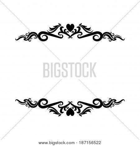 vignette heart decorative crest ornate flourish vector illustration