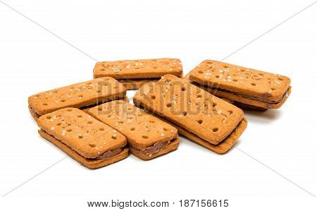 Biscuits double snack isolated on white background
