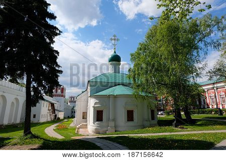 Temple of the St. Ambrose Mediolanian - landscape view - Novodevichy Convent - Moscow, Russia