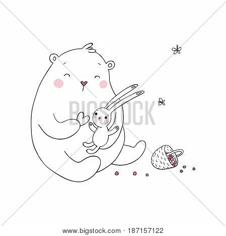 Lovely cartoon bear and hare. Basket with berries. Happy animals. Isolated objects on white background. Vector illustration.