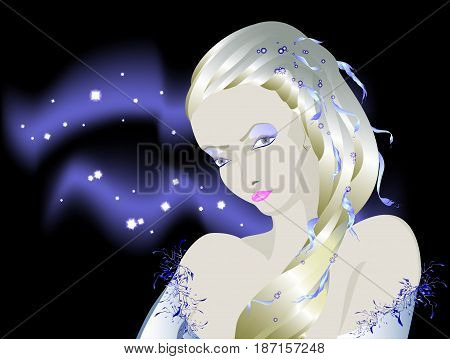 Fabulous light albino girl against the background of the night sky, Snow Queen during the polar night. EPS10 vector illustration.