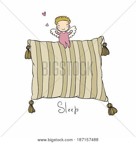 Beautiful pillows and cute little angel. Hand drawing isolated objects on a white background.Vector illustration. Simple cushion.