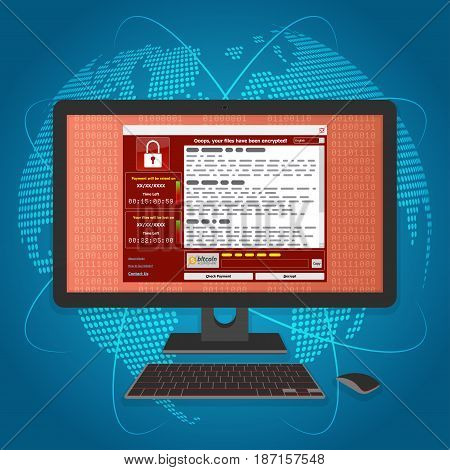 Virus Malware Ransomware wannacry encrypted your files and requires money. Vector illustration concept.
