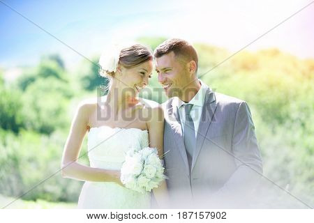 Beautiful bride and groom on their wedding day