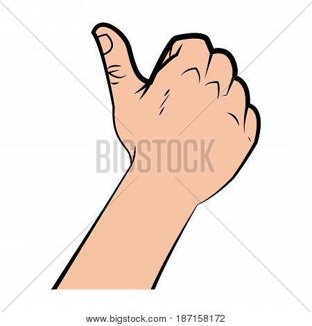 hand man thumb up like gesture image vector illustration