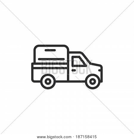 Pickup truck line icon outline vector sign linear style pictogram isolated on white. Symbol logo illustration. Editable stroke. Pixel perfect
