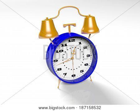 Black retro alarm clock isolated on white background, 3D rendered