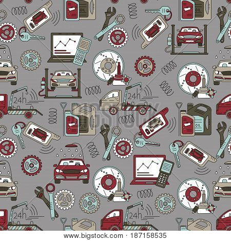 Seamless vector pattern with car service thin line symbols - tire service, car wash, tow truck, etc.