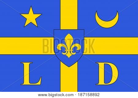 Flag of Lodeve is a commune in the Hérault département in the Occitanie region in southern France. Vector illustration