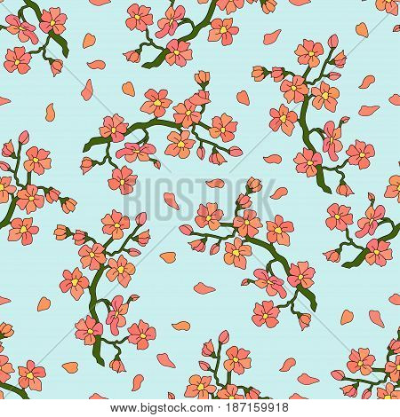Seamless vector pattern with gentle branch of cherry blossoms.