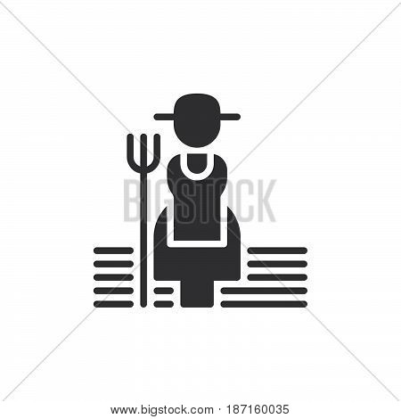 Farmer woman with hayfork icon vector filled flat sign solid pictogram isolated on white. Symbol logo illustration. Pixel perfect