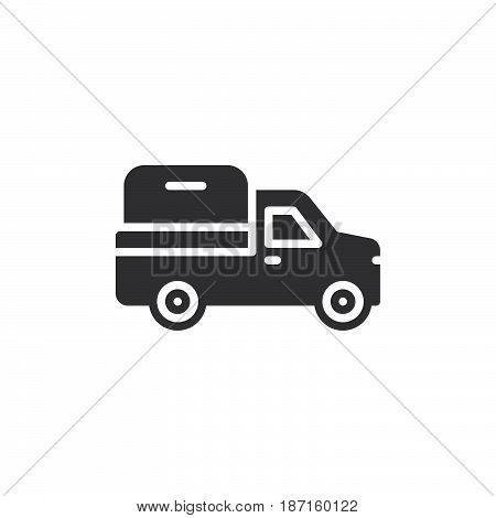 Pickup truck icon vector filled flat sign solid pictogram isolated on white. Symbol logo illustration. Pixel perfect