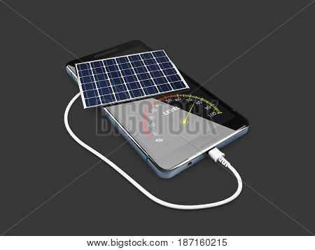 Mobile Power Pack With Solar Panels, Isolated Black, 3D Illustration