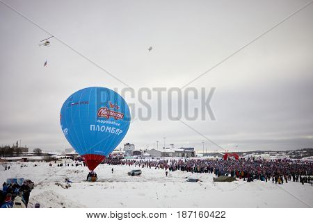 MOSCOW REGION, YAKHROMA, RUSSIA - FEB 11, 2017: SVITLOGORIE company air balloon in Yakhroma at Russian Ski Run 2017 competition. Russian Ski Run is held annually since 1982.