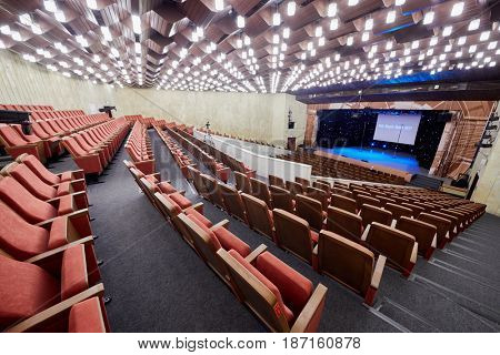 MOSCOW, RUSSIA - FEB 11, 2017: Interior of Korolevskiy concert hall before Pole Dance Show. Concert hall is designed for 750 spectators.