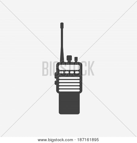 Police radio transceiver set monochrome icon on white background. Vector illustration.