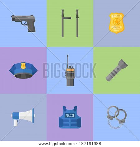 Set of police equipment, weapons flat style icons. Vector illustration.