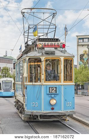 GOTHENBURG SWEDEN - MAY 13 2017: One of the iconic trams of Gothenburg in Sweden.