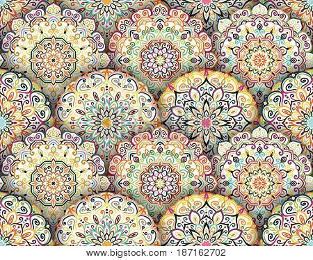 Intricate floral pattern. Seamless flower background. Scale vintage design. Mandala elements. Realistic shadow. Curvy boho round ornament. Decorative weave oriental interior, fabric, wallpaper, tile