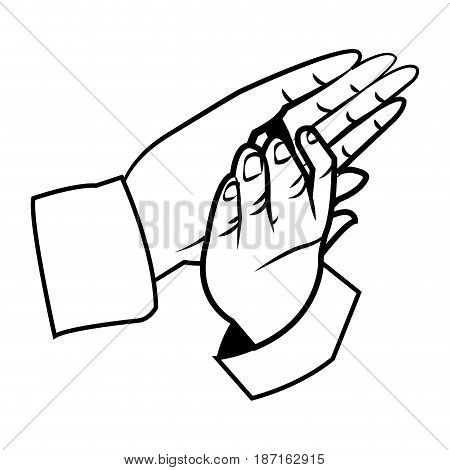 hands man clapping, applause gesture outline vector illustration
