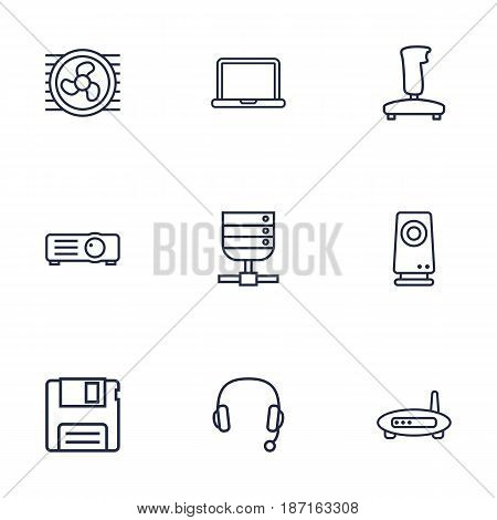 Set Of 9 Notebook Outline Icons Set.Collection Of Floppy, Modem, Projector And Other Elements.