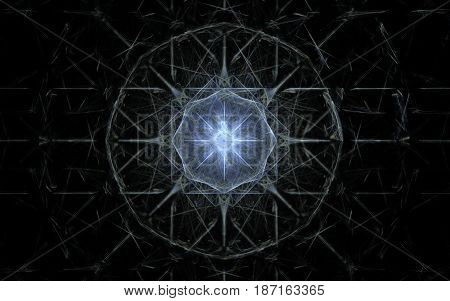 An abstract symbol of a round form of gray color from jerky lines with a bright blue star and a multitude of dashed lines inside on a dark background.