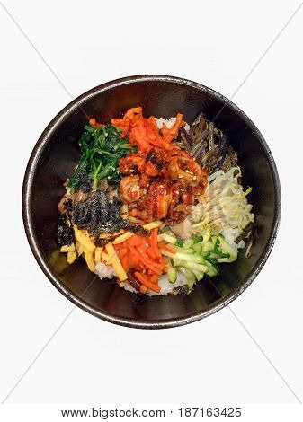 Bowl of Bibimbap Korean Traditional Dish Isolated with White Background