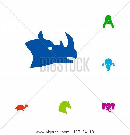 Set Of 6 Beast Icons Set.Collection Of Lamb, Diver, Trunked Animal And Other Elements.