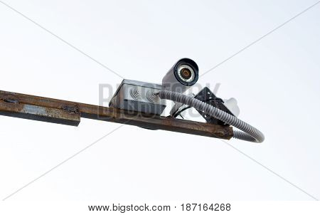Security camera isolated on white background .