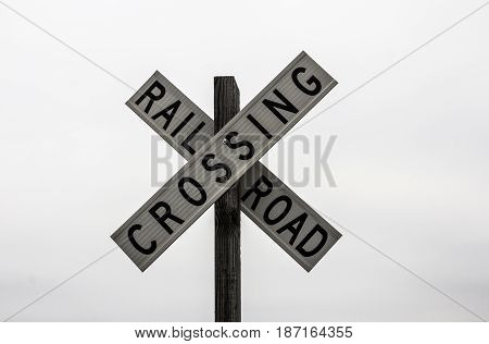 Railroad crossing sign on the white background