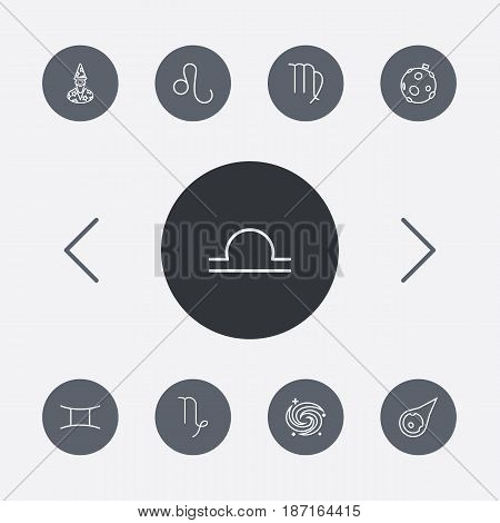 Set Of 9 Astrology Outline Icons Set.Collection Of Leo, Asteroid, Astrologer And Other Elements.