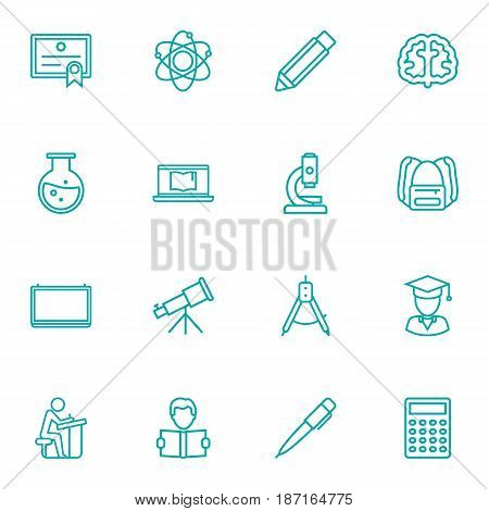 Set Of 16 Science Outline Icons Set.Collection Of Microscope, Compass, Pupil And Other Elements.