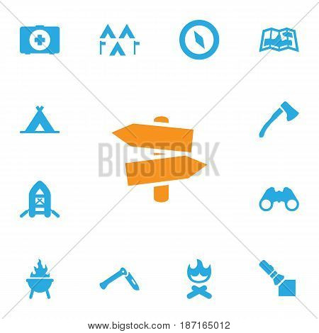 Set Of 13 Outdoor Icons Set.Collection Of Magnet Navigatior, Map, Campfire And Other Elements.