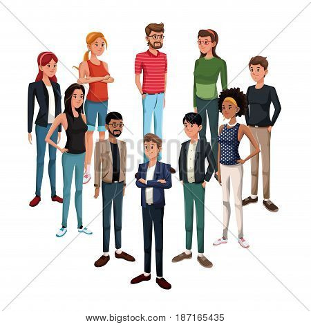 goup of young people standing vector illustration
