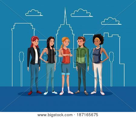 goupe women female standing with city landscape silhouette vector illustration